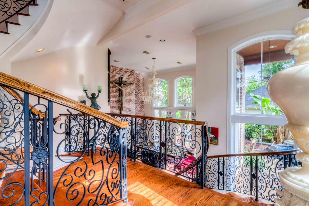 photograph of interior design stairway railing