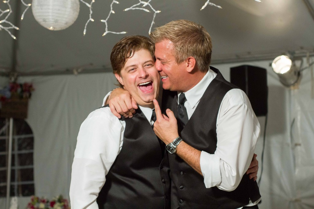 photograph of Wedding reception groom with friend