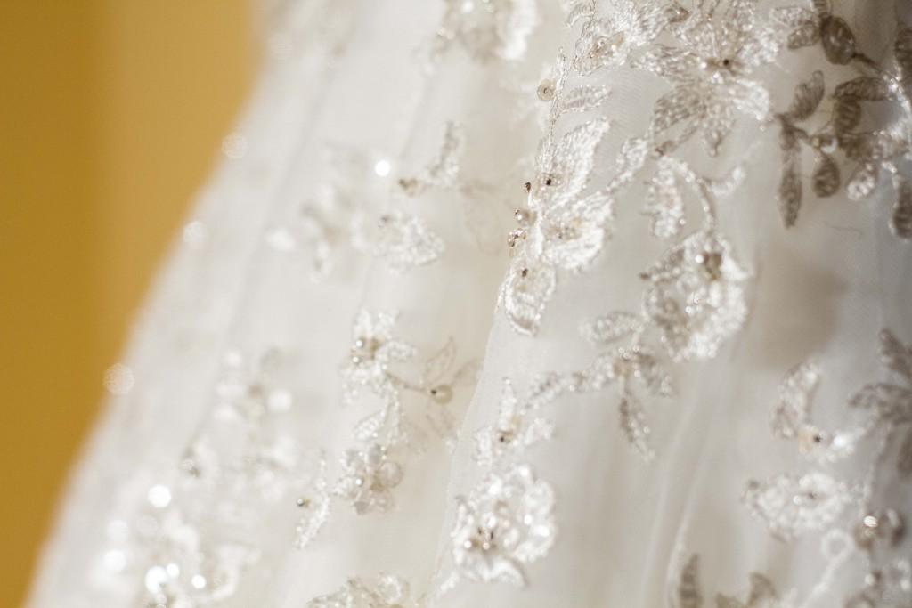 photograph of Wedding dress closeup