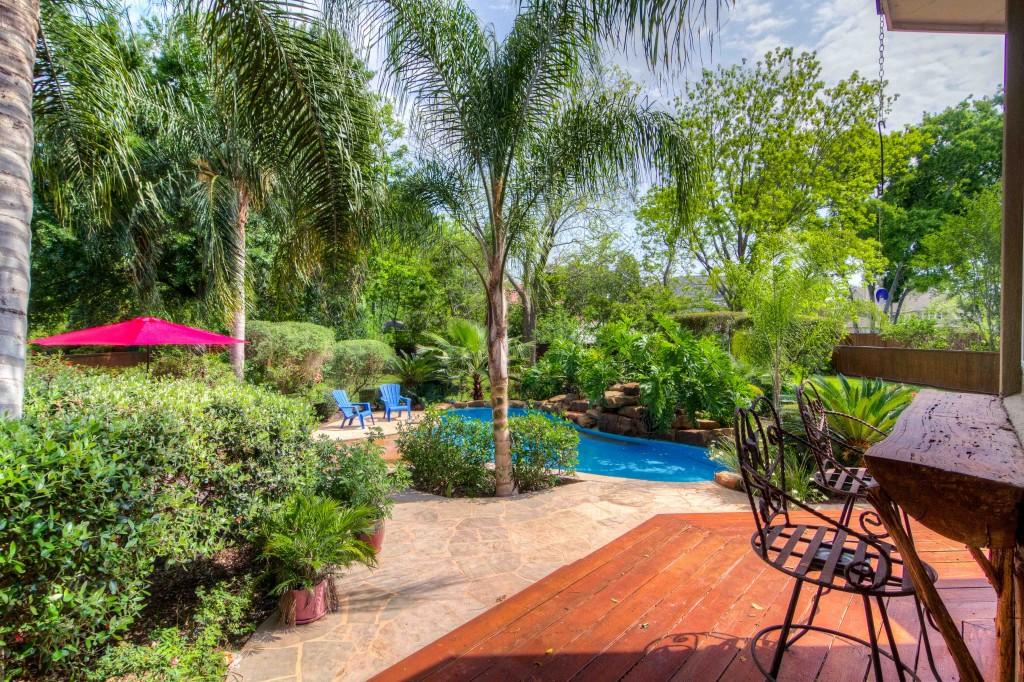 Photograph of Backyard landscaping.